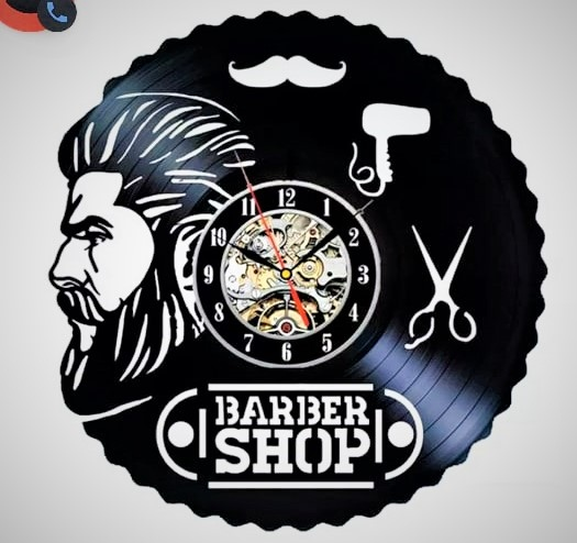 Laser Cut Barbershop Design Vinyl Wall Clock Free Vector