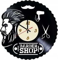 Laser Cut Barbershop Design Vinyl Wall Clock Free Vector