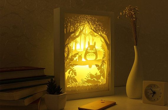 Laser Cut My Neighbor Totoro 3D Lightbox Lamp Free Vector