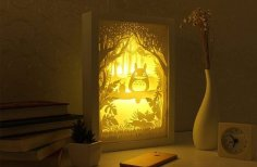 Laser Cut My Neighbor Totoro 3D Lightbox Lamp Free Vector