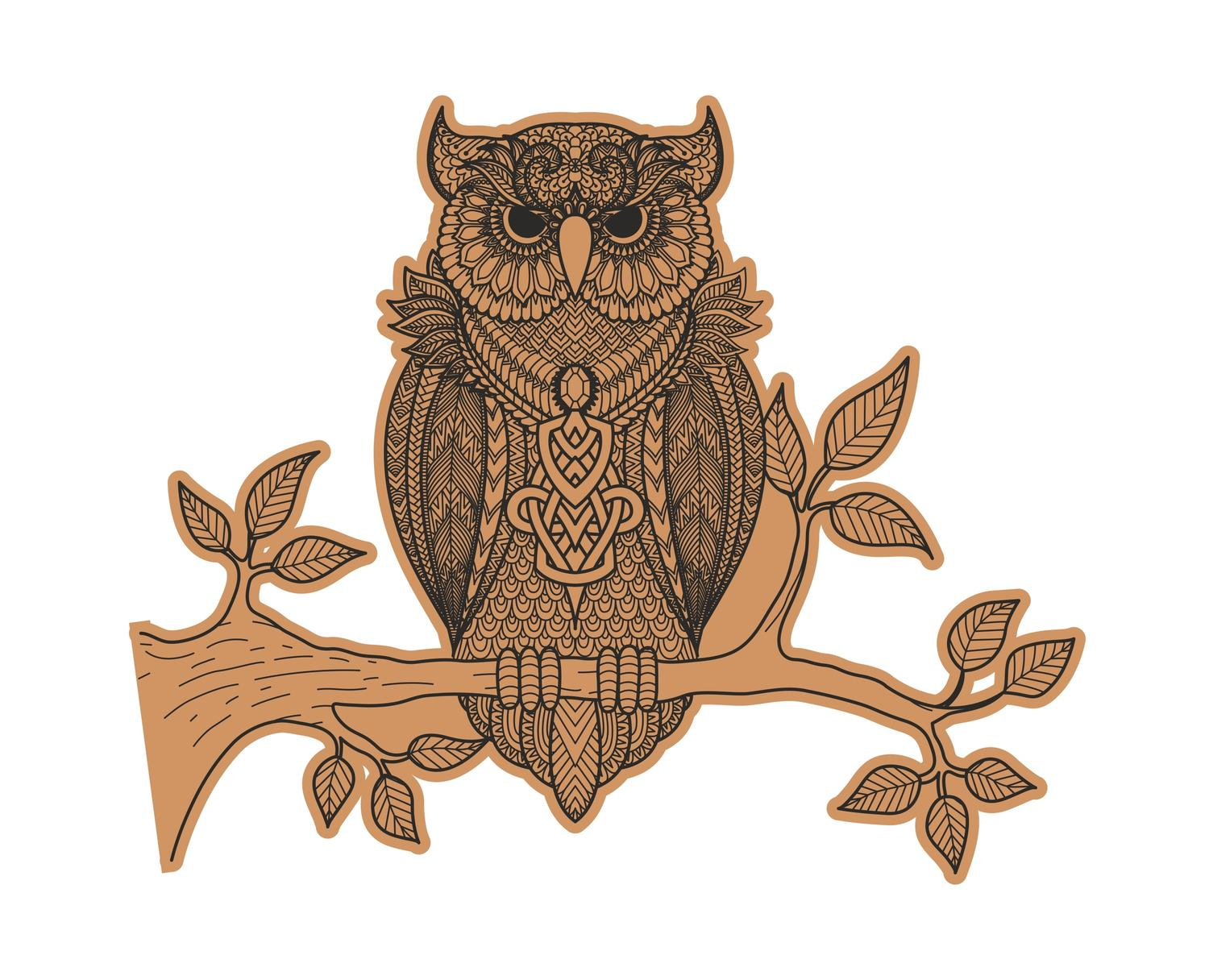 Decorative Owl Sitting On Branch Laser Cut Engraving Template Free Vector