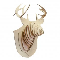Laser Cut Wooden Deer Head Trophy Free Vector