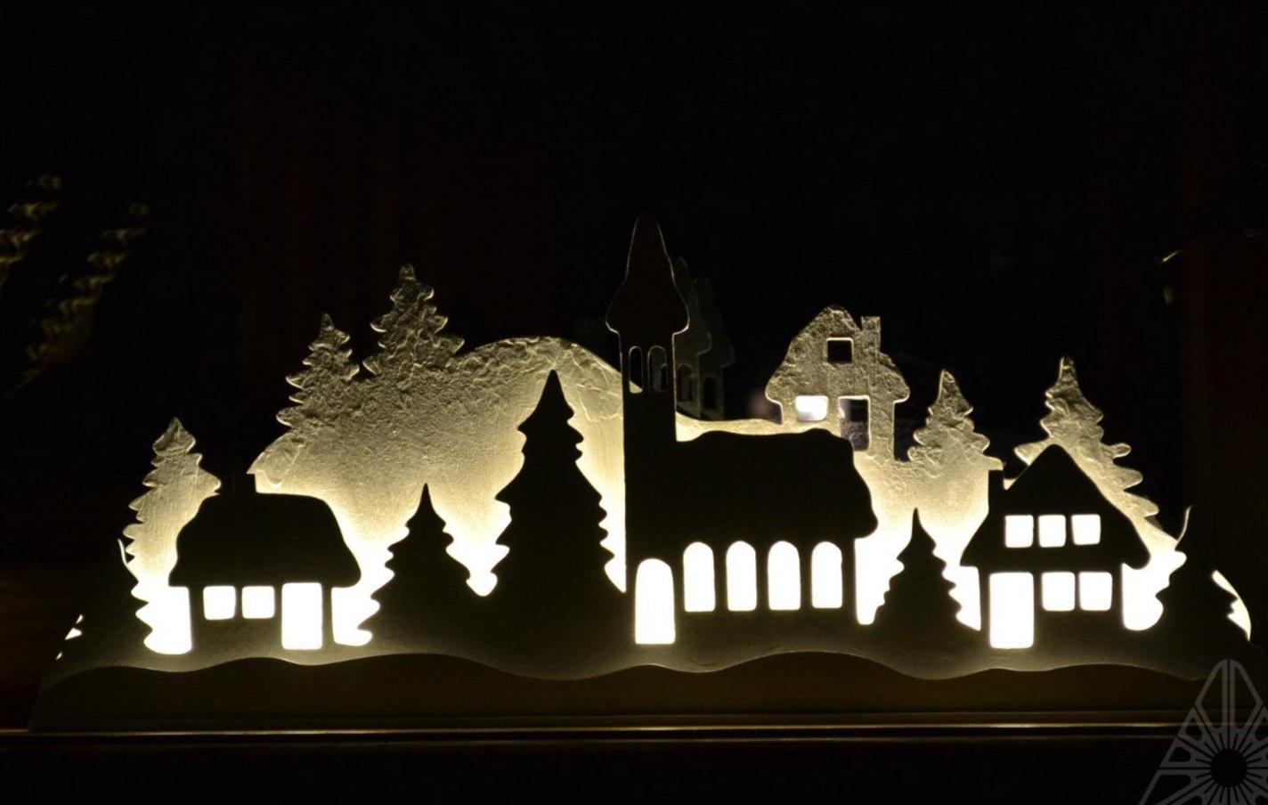 Laser Cut Christmas New Year Night Lamp Shadow Box Free Vector