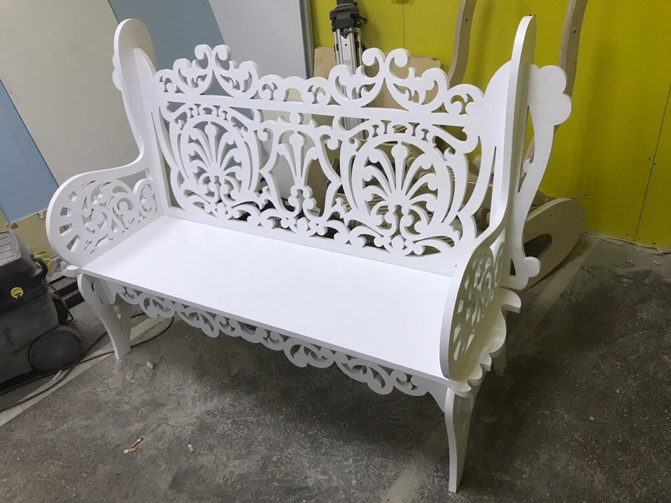 Laser Cut Wooden Decorative Bench 21mm Free Vector