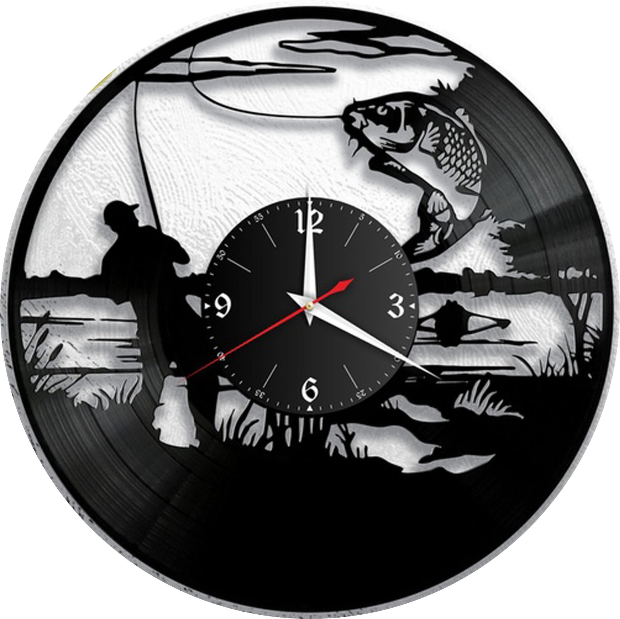 Laser Cut Fishing Vinyl Wall Clock Fisherman Men Dad Father Gift DXF File