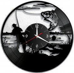 Laser Cut Fishing Vinyl Wall Clock Fisherman Men Dad Father Gift DXF File