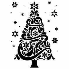Laser Engraving Decor Christmas Tree Free Vector