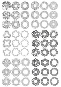 Set of Simple Round Ornaments Free Vector
