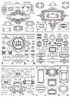 Vintage Ornaments Decor Set Free Vector