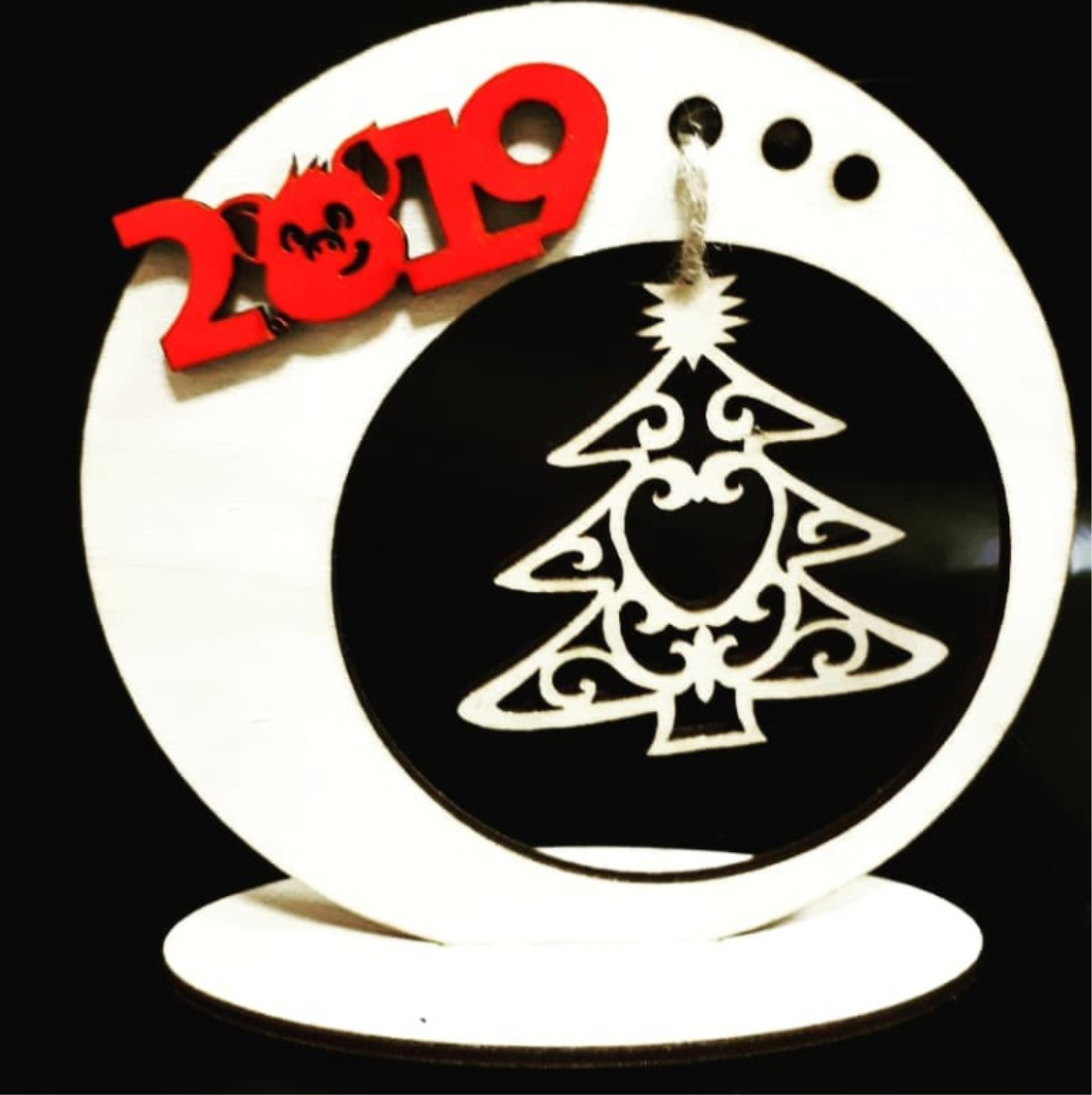 Laser Cut New Year Wooden Souvenirs Free Vector