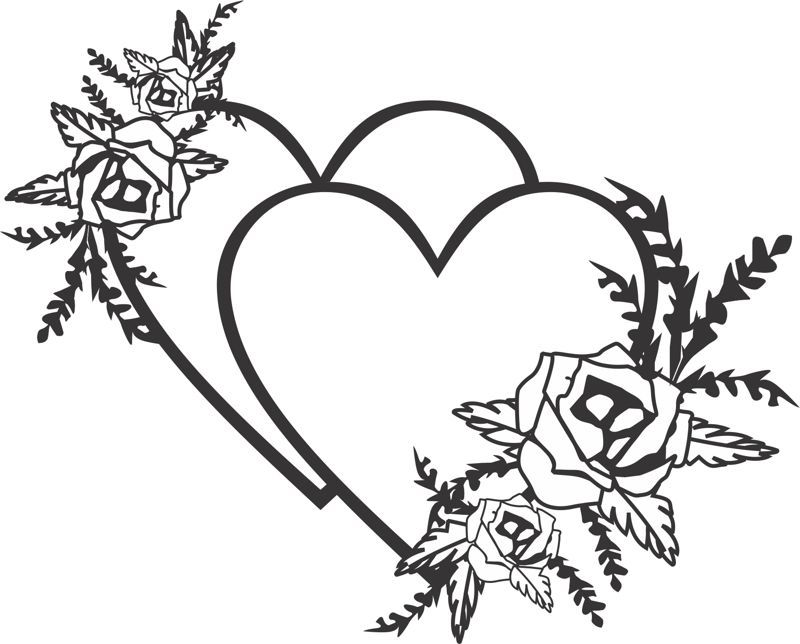 Laser Cut Engrave Two Hearts Valentines Day Decor Free Vector