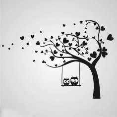 Laser Cut Engrave Valentine Tree With Owls Free Vector
