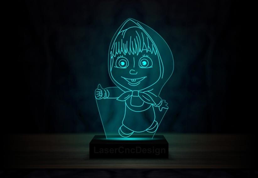 Laser Cut Masha And The Bear Acrylic 3D Lamp DXF File