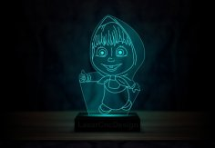 Laser Cut Masha And The Bear Acrylic 3D Lamp DXF File