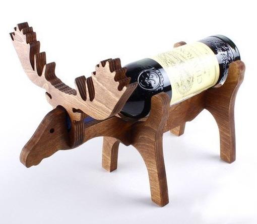 Laser Cut Moose Wine Bottle Holder 10mm Free Vector