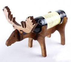 Laser Cut Moose Wine Bottle Holder 10mm Free Vector