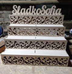 Laser Cut Wooden Counter Display Stand Decorative Cupcake Stand Free Vector