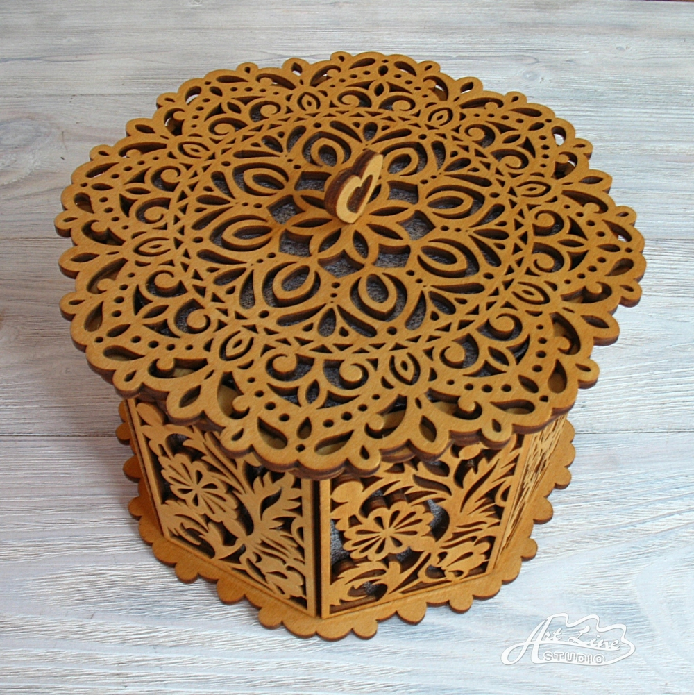 Laser Cut Decorative Box With Floral Pattern Free Vector