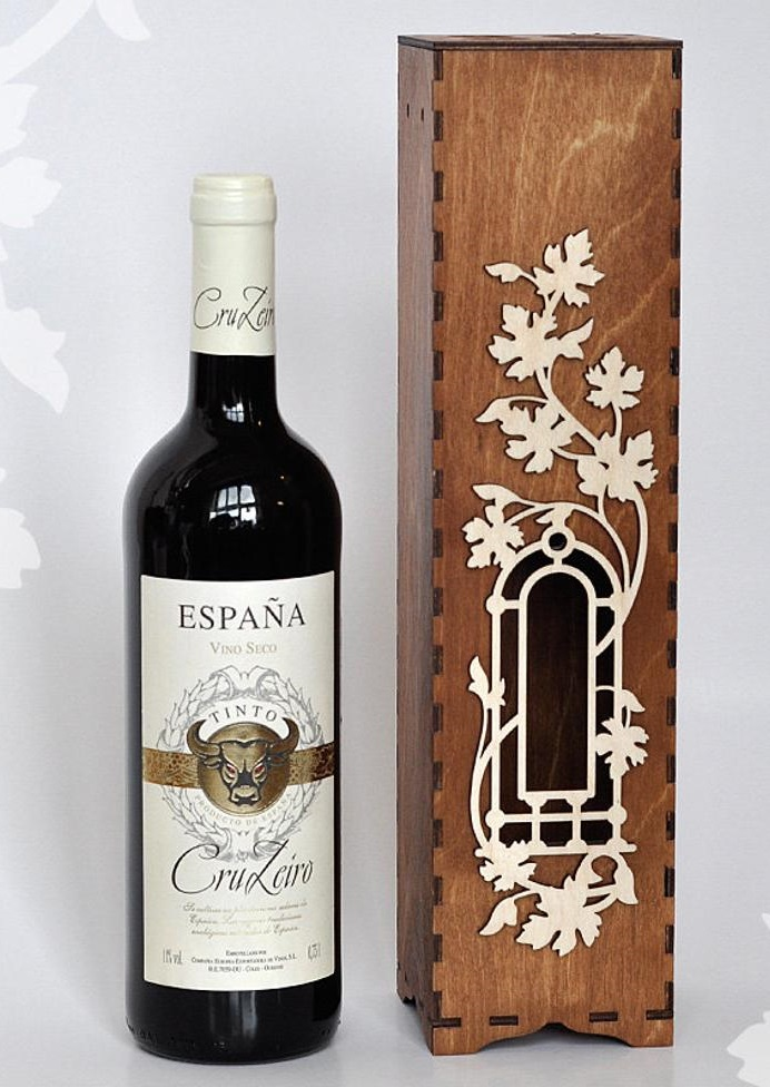 Laser Cut Decorative Wine Bottle Packaging Gift Boxes Free Vector