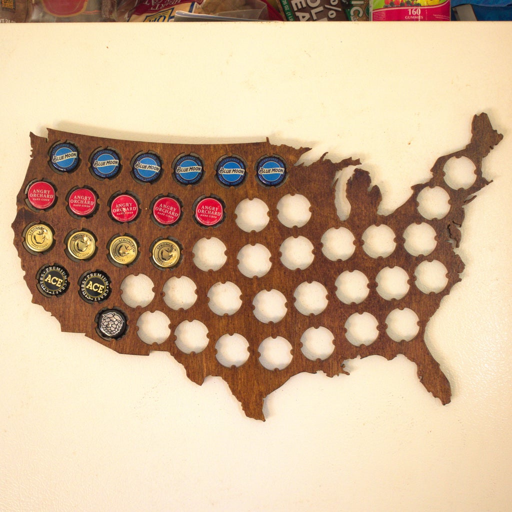 Laser Cut USA Beer Cap Map DXF File