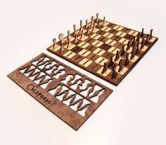 Laser Cut Wooden Chess Set Free Vector