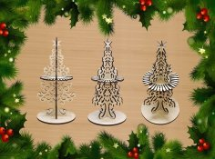 Laser Cut Decorative Christmas Tree Napkin Holder Free Vector