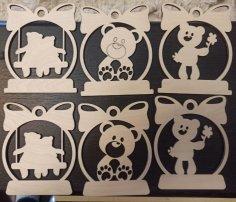 Laser Cut Tiger & Bear Ornaments Wooden Toys Free Vector