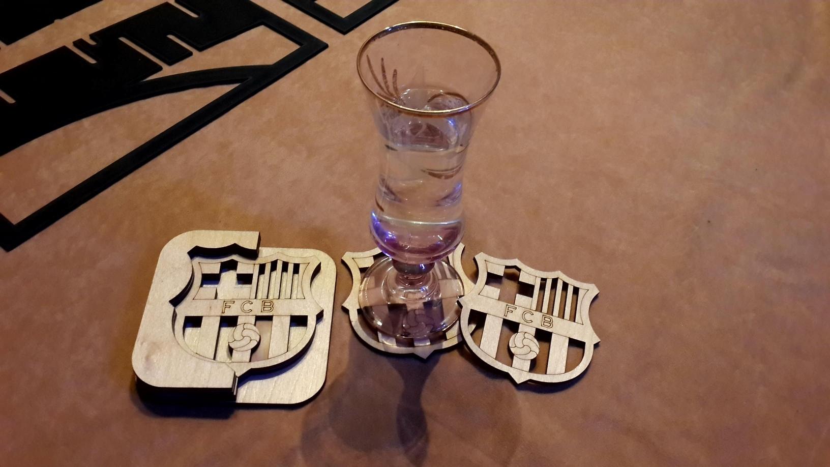FCB Sports Team Coasters Laser Cut Template Free Vector