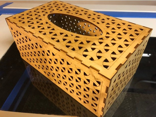 Laser Cut Tissue Box 3mm Birch Plywood SVG File