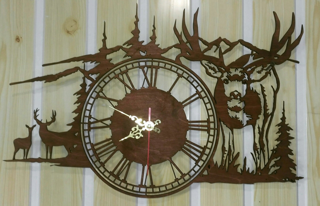Clock Deer In The Mountains DXF File