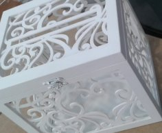 Laser Cut Wedding Box For Money Free Vector