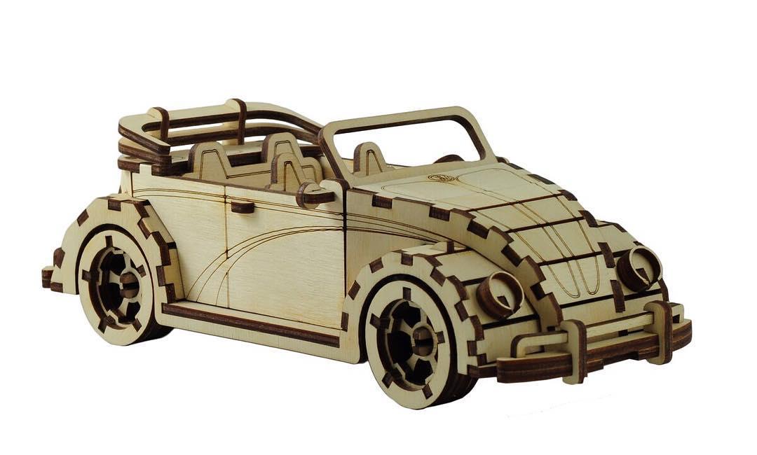 Laser Cut VW Fusca Cabriolet Free Vector