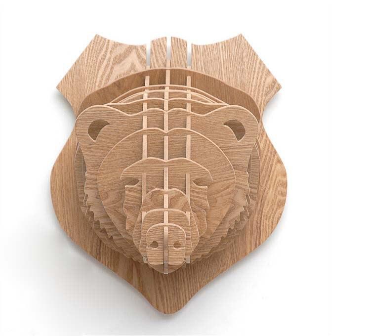 Bear Head 3D Puzzle Animal Head Wall Trophy Free Vector
