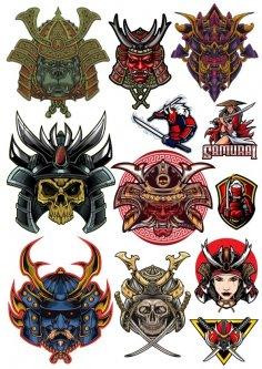 Skull Samurai Vectors Set Free Vector