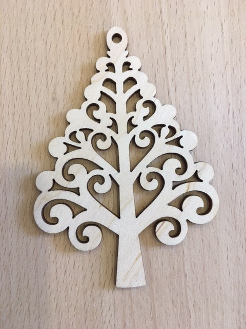 Laser Cut Decorative Tree Plywood Toys For New Year Free Vector