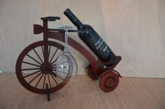 Decor Wooden Bicycle Wine Bottle Holder Rack Laser Cutting Template Free Vector
