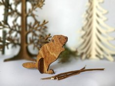 Beaver Wooden Animal Laser Cut CNC Template Free Vector