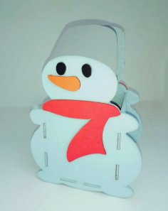 Laser Cut Snowman Pen Holder Organizer Free Vector