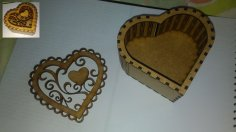 Valentine Day Heart Shaped Box Laser Cut CNC Plans Free Vector
