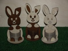 Laser Cut Easter Bunny Pencil Holder Desk Organizer Free Vector