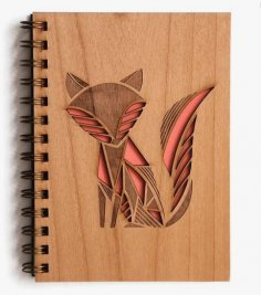 Laser Cut Fox Engraved Notebook Cover Free Vector