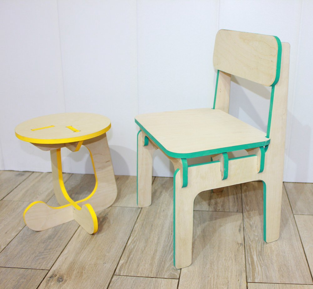 Furniture Children's Stool and Highchair DXF File