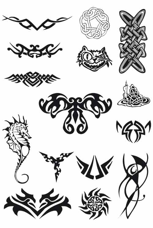 Set Of Tribal Tattoos Free Vector