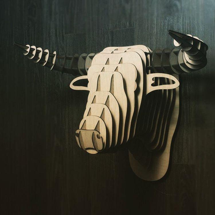 Bull Head 3D Puzzle Wall Decor DXF File