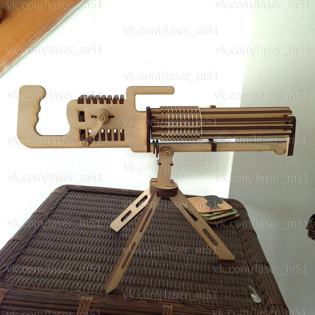 Laser Cut Machine Gun 3D Puzzle Free Vector