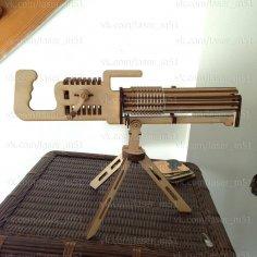 Laser Cut Machine Gun 3D Puzzle Free Vector