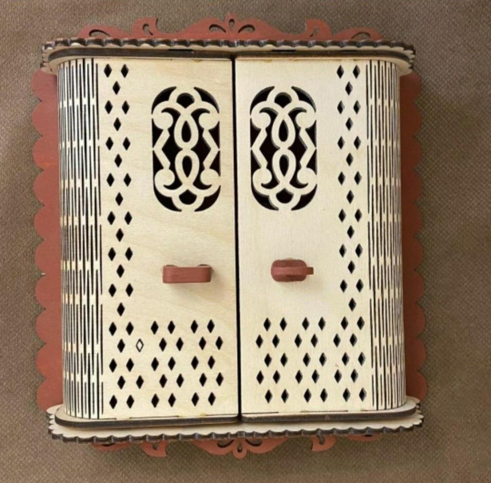 Laser Cut Decorative Key Rack Wooden Key Cabinet Free Vector