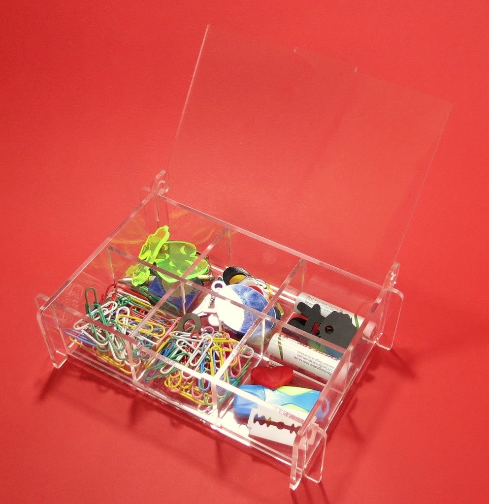 Laser Cut Storage Box With Partitions Acrylic 3mm DXF File