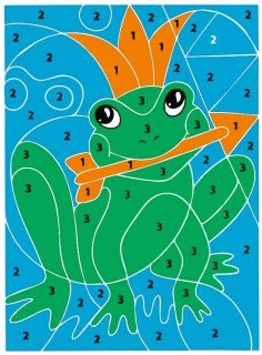 Laser Cut Frog Color By Number Puzzle For Kids Free Vector