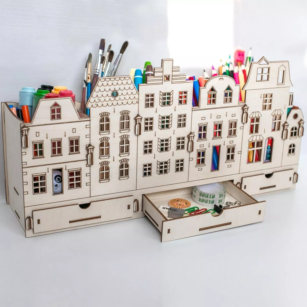 Laser Cut City Desk Organizer Storage Rack Drawers Free Vector